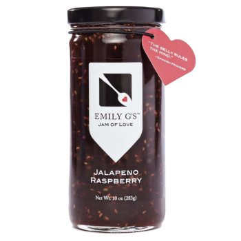 Jalapeno Raspberry jam. Dark red and juicy raspberries balance the heat of the jalapenos in this delicious jam from Emily G'S. Available at Spoonabilities.com