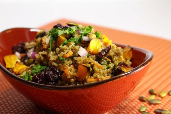 Quinoa Salad with Roasted Butternut Squash and Pumpkin Honey Mustard Vinaigrette. This recipe is great as a side dish for your Autumn meals, or for lunch. Spoonabilities.com
