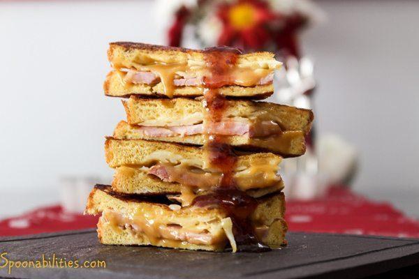 Monte Cristo Sandwich with Pumpkin Honey Mustard & Triple Berry Jam @ Spoonabilities