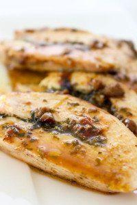 Sun Dried Tomato, Basil Pesto, Black Olive & Feta Stuffed Chicken. Easy recipe under 45 minutes
