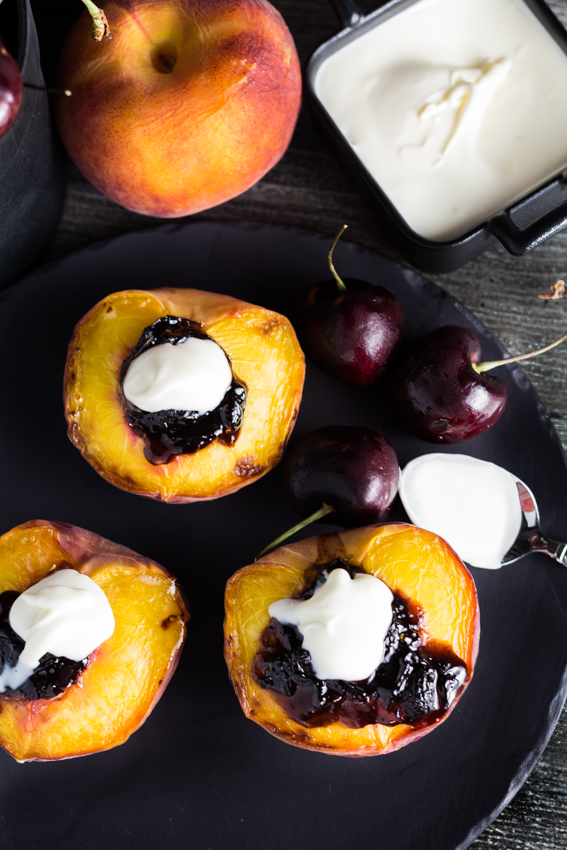 Fresh Broiled Peaches with the delicious Spiced Sour Cherry Spread & topped with a creamy Creme Fraiche. You can find this recipe and others fresh and super easy recipes at Spoonabilities.com