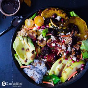 Recipe for Cherry Vinaigrette Dressing on Autumn Harvest Salad with Pumpkin Honey Mustard mixed in a mason jar. With some Pomegranate seed & Dumpling Squash. Spoonabilities.com