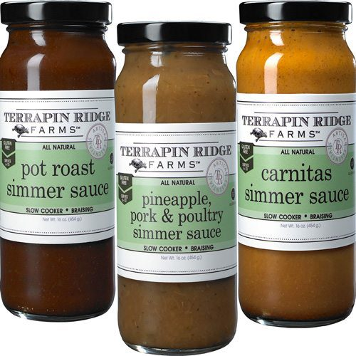 Gourmet Simmering Sauces 3-pack gift set come with traditional flavors like Pot Roast, Carnitas and Pineapple Pork & Poultry Simmer Sauce for easy cooking. Produced by Terrapin Ridge Farms, available at Spoonabilities.com