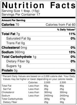 Hot Wasabi Squeeze Garnishing Sauce Nutrition facts
