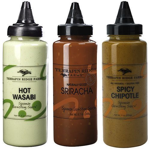 Spicy Squeeze Garnishing Sauce 3-pack Gift Set. This gift set includes Hot Wasabi, Sriracha, Chipotle Garnishing Squeeze Sauces from Terrapin Ridge Farms. For Spicy Food Lovers. Spoonabilities.com