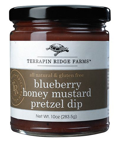 The Gourmet Mustard Gift Set includes the Blueberry Honey Mustard Pretzel Dip has the combination of clover honey, Michigan blueberries, and mustard create an addictive dip. Producer Terrapin Ridge Farms available at Spoonabilities.com