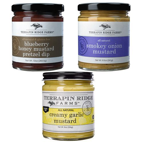 This Gourmet Mustard Gift Set is the perfect gift for the mustard lovers. Includes Blueberry Honey Mustard Pretzel Dip, Smokey Onion Mustard, Creamy Garlic Mustard. Producer Terrapin Ridge Farms available at Spoonabilities.com