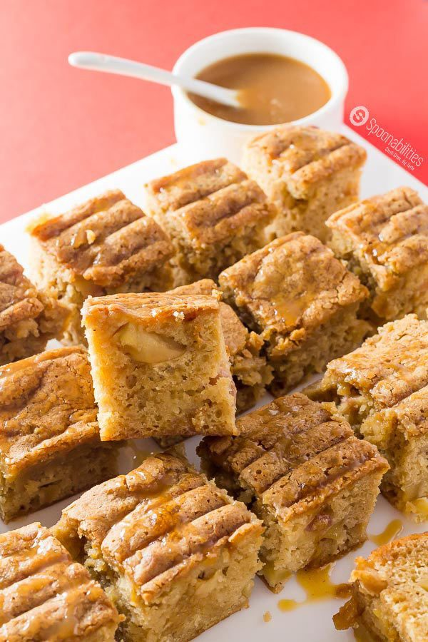 Caramel Sauce Recipes - Salted Caramel Apple Blondies are gooey, chewy, moist, and addictive. This sauce is gluten free, no GMO, no corn syrup, all natural, made in small badges. Salted Caramel Sauce by Coop's available at Spoonabilities.com