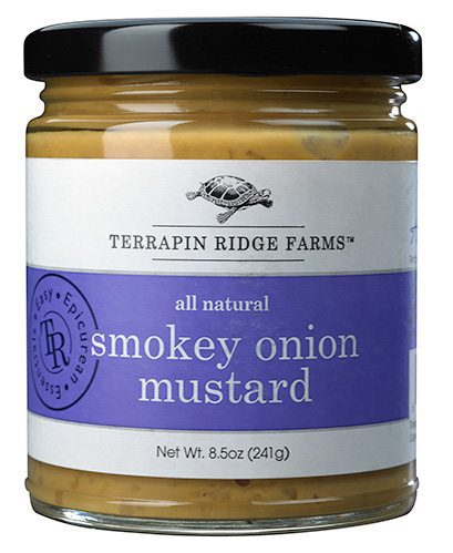 Gourmet Mustard Gift Set includes the Smokey Onion Mustard has a natural smoke flavor, roasted garlic, and crisp onions create a mustard you will want to try on everything. Producer Terrapin Ridge Farms available at Spoonabilities.com