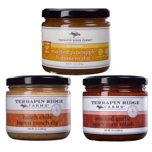 This amazingly delicious Gourmet Dips and Relish Gift Set in 3-pack includes Smoky Garlic Spicy Corn Relish, Hatch Chile Bacon Ranch Dip & Roasted Pineapple Habanero Dip from Terrapin Ridge Farms. Available at Spoonabilities.com