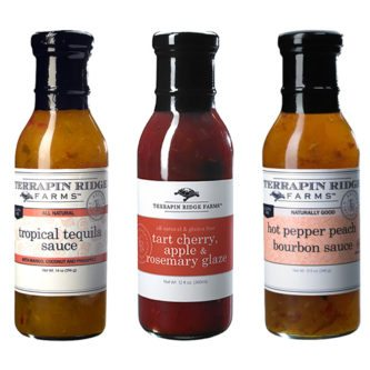 Create easy meals with Gourmet Glaze and Sauce Gift Set 3-pack from Terrapin Ridge Farms. You can use them to broil, bake, Grill or just out of the jar to elevate your everyday meals into delicious gourmet meals. Includes Tropical Tequila Sauce, Hot Pepper Peach Bourbon Sauce & Tart Cherry, Apple & Rosemary Glaze. Available at Spoonabilities.com