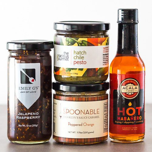 Valentines day Gourmet Food Gift Set includes: Hatch Chile Pesto, Peppered Orange Caramel Sauce, Jalapeño Raspberry Jam & Hot Habanero Oil. Available at Spoonabilities.com