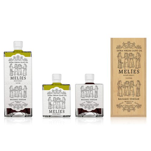 Melies Greek Olive Oil Vinegar Gift Set collection with high-quality EVOO and balsamic vinegar in two identical glass bottles that fit perfectly together. Available at Spoonabilities.com