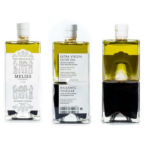 Melies Greek Olive Oil Vinegar Gift Set with high-quality EVOO and balsamic vinegar in two identical glass bottles that fit perfectly together. Collection Available at Spoonabilities.com