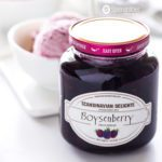 Easy, quick dessert with only two-ingredients: vanilla ice cream and Boysenberry Fruit Spread from Scandinavian Delights by Elki. Spoonabilities.com