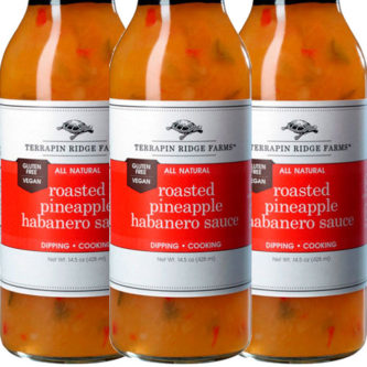 Roasted Pineapple Habanero Sauce from Terrapin Ridge Farms 3-pack has a sweet caramelized roasted pineapple taste combined with veggies and fiery habaneros. Perfect for grilling & dipping. The sauce is Gluten Free, & Vegan. Available at Spoonabilities.com