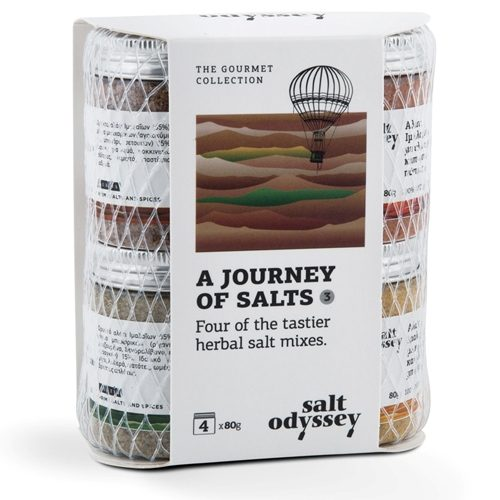 Herbal Salt Mixes by Salt Odyssey - A Journey of Salts. Gourmet Greek sea salt with caraway, turmeric, smoked paprika, and oregano. Spoonabilities.com