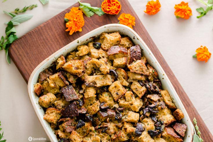 This Mushroom Stuffing recipe is packed with fresh herbs and veggies. Flavorful stuffing with a meaty and earthy taste from Shiitake, Cremini, and White Mushrooms. Spoonabilities.com