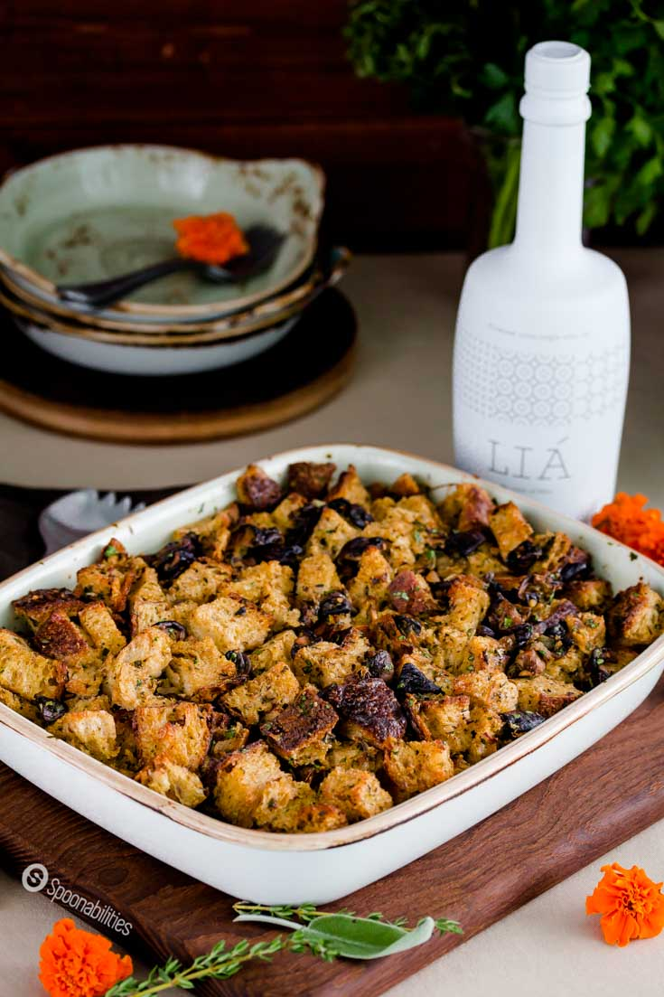 Shiitake Cremini White Mushroom Stuffing. Perfect side dish recipe for Thanksgiving dinner. This stuffing is very flavorful. Spoonabilities.com