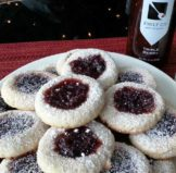 Almond Thumbprint Cookies filled with Triple Berry Jam