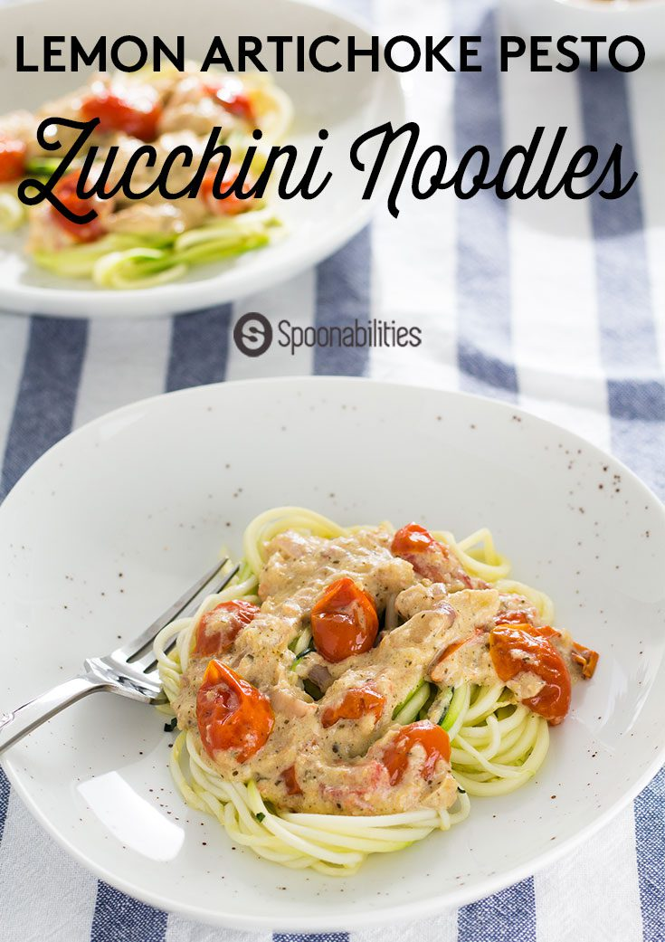 Zoodle (zucchini noodle) recipe idea. Healthy, easy to make and packed with summer flavors. Ready in under 30 minutes. Great for weeknight meals. Made with Mediterranean flavors like artichoke lemon pesto, roasted cherry tomatoes & asiago cheese.