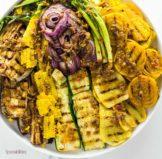 Grilled Summer Vegetables with Black Olive Vinaigrette