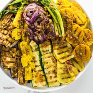 Grilled Summer Vegetables is an easy & healthy recipe with Mediterranean flavor of Black Olive Tapenade vinaigrette. Spoonabilities.com