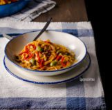 Roasted Red Pepper Pasta with Sicilian Olives