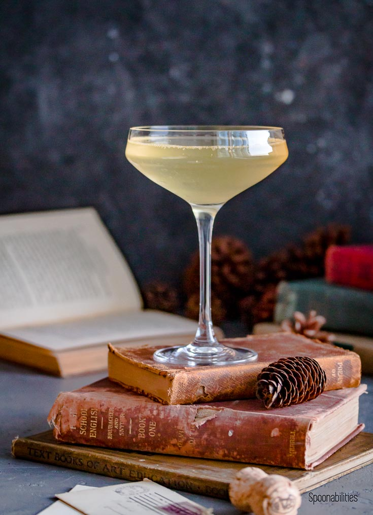 Hero shot of Gin Prosecco Cocktail on top of antique books. Spoonabilities.com